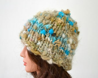 Hand Spun Knit Hat, Winter Cloche, Knitted Snow Cap, OOAK, Hand Dyed Yarn