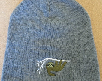 Beanie Embroidered Sloth on Grey One Size Fits Most