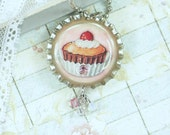Large Cupcake Necklace Food Jewelry Bottle Cap Necklace Dessert Jewelry Dessert Necklace Cupcake jewelry