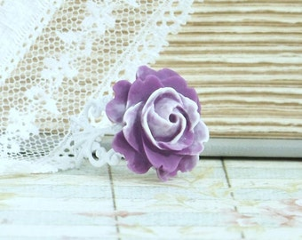 Purple And White Ring Purple Rose Ring Victorian Jewelry Purple Flower Ring Rose Cabochon Ring