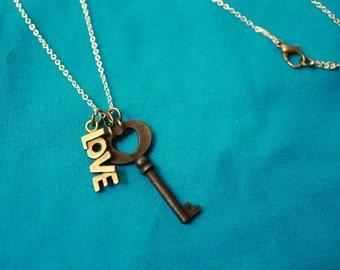 Key to Life Love SteamPunk Necklace - Enstasy Designs