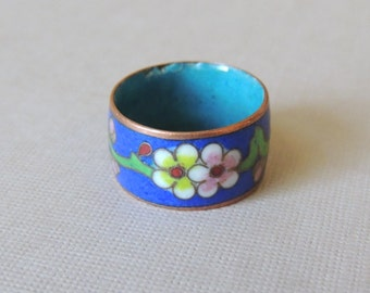 Blue Cloisonne Band Ring size 6 1/2