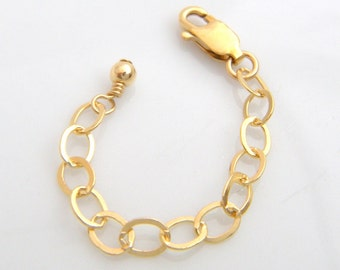 2.5 inch gold extension chain. 14k gold filled necklace extender. lobster clasp. safety chain. adjustable extension chain. ready to ship
