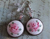 Steampunk Earrings - Remember -  Repurposed art made with Real Vintage porcelain inserts and pocket watch gears.