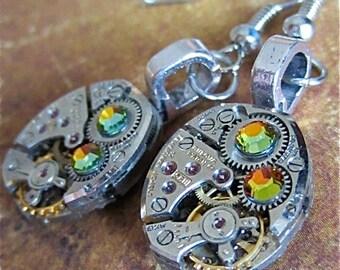 Steampunk ear gear - Cathedral - Steampunk Earrings - Repurposed art