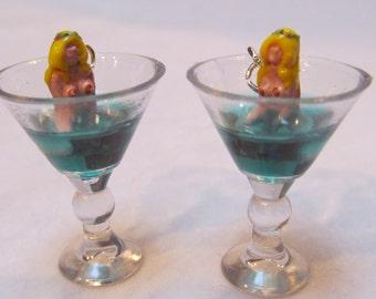 Miniature Martini Earrings w/ Burlesque Pin Up Girl Vixen Sitting in the Glass