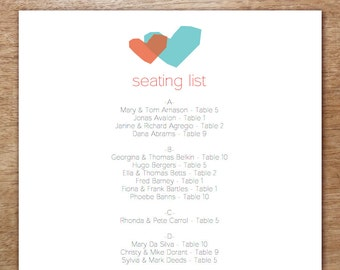 Printable Seating List - Wedding Seating List Template - Instant Download - Seating Chart PDF - Blue & Red Hearts - 2 Overlapping Hearts