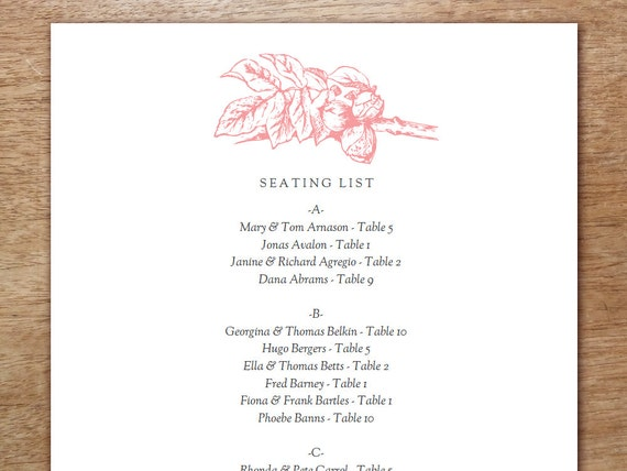 Printable Seating List - Wedding Seating List Template - PDF Download - Seating Chart PDF - Botanical Seating List - Vintage Pink Florals