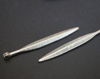 Antique Silver Plated Long Feather Arrow Charm Pendants - 8 pcs