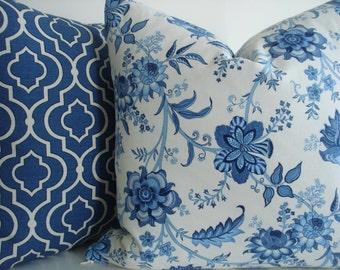 NEW-BOTH SIDES Indigo Paisley -Decorative Pillow Cover .-Designer Fabric -Indigo Blue / Ivory Throw /Lumbar Pillow Cover