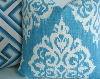 CARIBBEAN BLUE IKAT-Decorative Designer Pillow Cover- Blues -Turquoise-/Aqua / Blue /Off White
