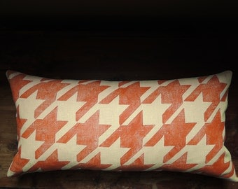 Saffron orange classic houndstooth hand block printed on warm wheat linen colorful decorative home decor 12x24 pillow case
