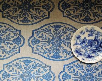 Chinoiserie folk art linen table runner hand block printed home decor ultramarine blue on natural gray brown hostess gift