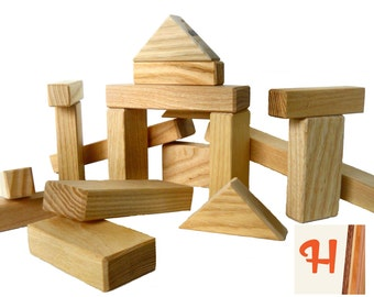 24 Natural Wood Blocks - Handcrafted from natural poplar wood - 24 pieces toy building blocks