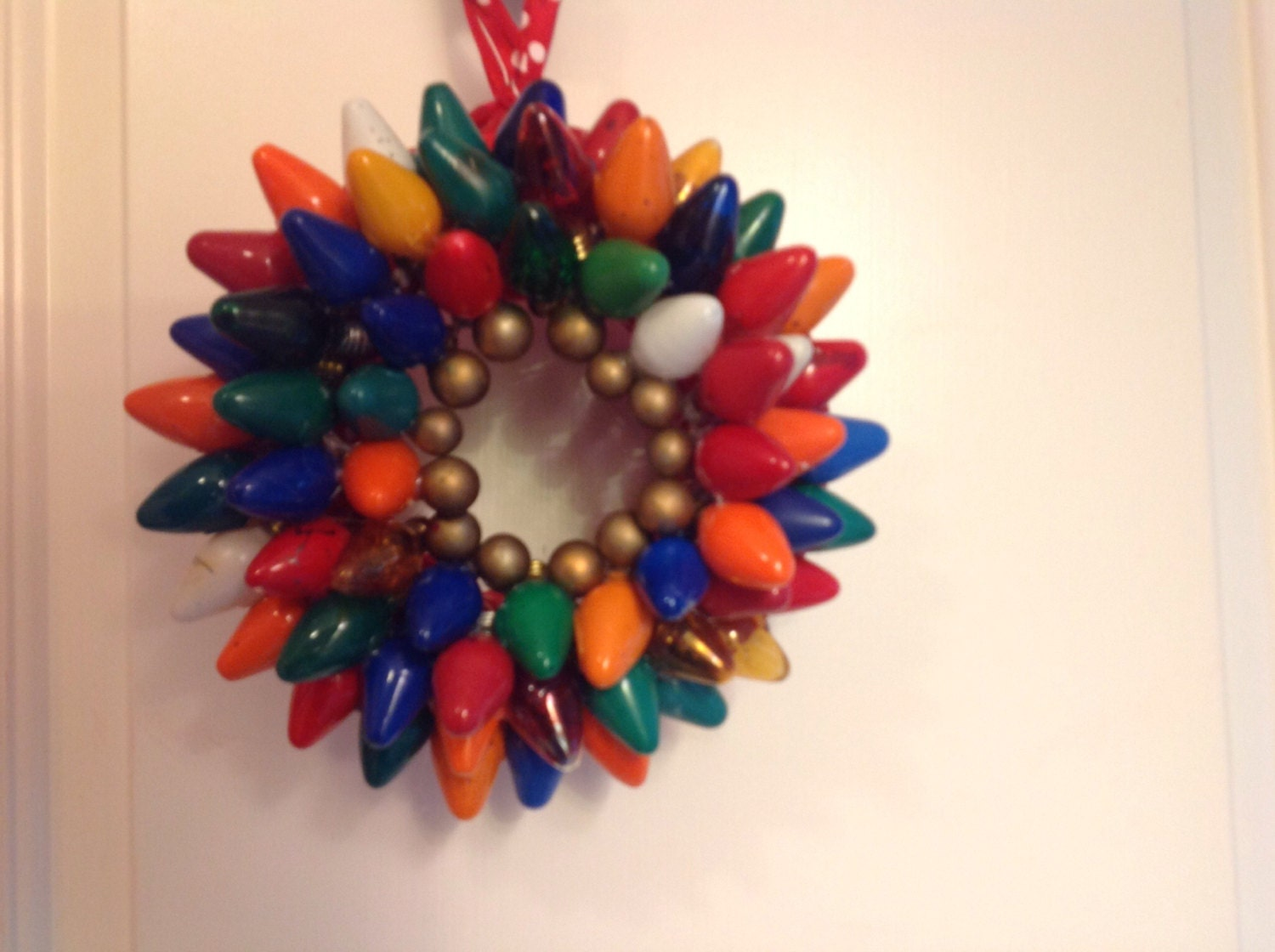 14 inch upcycled vintage- Multi Colored- Christmas light wreath-