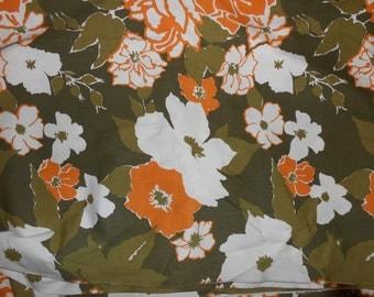 Vintage Marimekko Fabric 4 1/2  Yards Orange and Olive