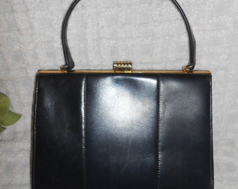 vintage Navy Blue Leather Kelly Handbag