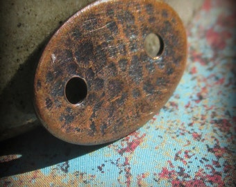 Oxidized and Textured Copper Oval Button  - Artisan Jewelry Findings - 22 gauge