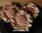 Primitive Homespun Ticking Grungy Flowers--Ornie--Bowl Fillers--Set of THREE--Pink