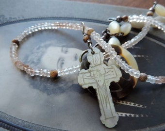 Antique Asssemblage NecklaceFolk Art Mother of Pearl Cross Necklace with Imperial Topaz Rondelles
