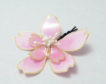 Resin Flower Kanzashi, Floral Hair Accessory, Hair Bobby Pin, Sakura Flower Pink, Japanese Geisha, Cherry Blossom