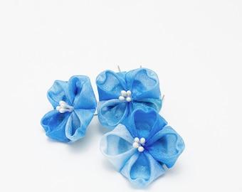 Bridal Hydrangea Trio, Blue Hair pins, Silk Flowers, Japanese Sticks, Tsumami Kanzashi, Geisha or Maiko, Hair Accessories, Accent Flower