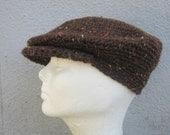men's drivers cap/ chestnut tweed wool crochet- made to order