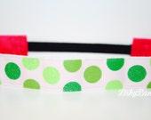 Green Glittery Polka Dot No Slip Headband
