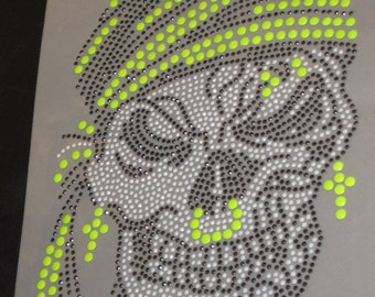 Diy Rhinestone & Nail Head Sequin Transfer of Pirate Skull in Neon Yellow Black n White