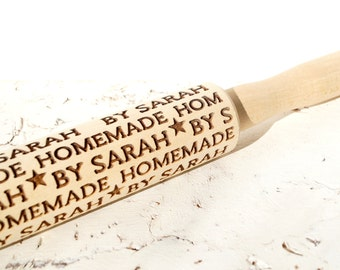 Personalized rolling pin, Embossing rolling pin, Custom wooden rolling pin, Cookies decorating roller, Laser engraved rolling pin