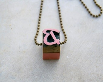 Vintage wooden typographic necklace. Antique bronze chain. Letter B pink gold wood