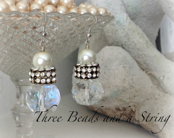 Chunky Statement Dangle Earrings With Crystals, Rhinestone Rhondelles and Pearls on Silver Ear Wire