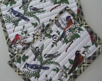 Set of 2 Snack Mats Winter Birds Quilted Placemat