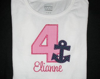 Custom Personalized Applique Birthday Number ANCHOR and NAME Shirt or Bodysuit - Hot Pink Gingham and Navy Blue Polka Dots
