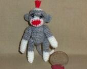 Sock Monkey Miniature Grey Thread Artist Crochet  Ready to Ship
