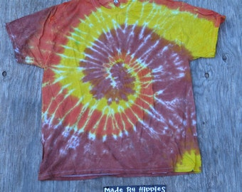 Autumn Arrival Spiral Tie Dye T-Shirt (Jerzees Size XL) (One of a Kind)
