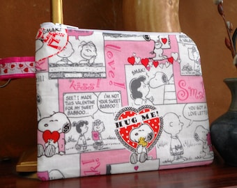 Valentine Snoopy and Peanuts Gang Pouch / Make Up / Coin / Wallet / Meds / Cell Phone / Organizer