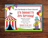 Circus and clown party invitation (custom), printable file