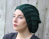 Dark Green Forest Slouch Beret Hat Chunky Yarn