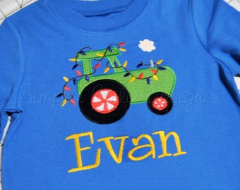 Christmas tractor shirt or body suit. Sizes NB to youth M.