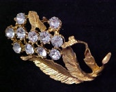 Swarovski CRYSTALS Floral Bouquet~Textured Heavy Gold Plate Brooch