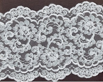 7 inch Bridal white Reembroidered galloon lace 8yds (K11)