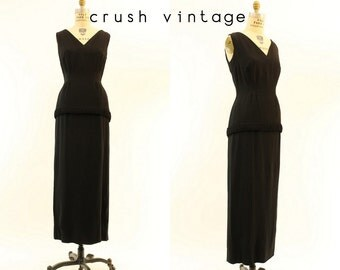 60s Dress Column Maxi Small / 1960s Vintage Dress / Moonless Sky Gown