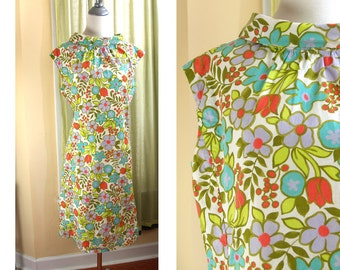 Vintage 60s Graphic floral print dress M/L shift // light purple, teal, yellow-green, rosy-pink