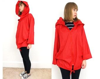 Vintage red hooded light jacket // one size // best!