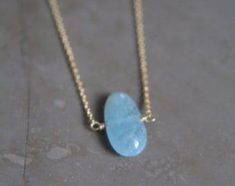 Aquamarine Pebble Necklace March Birthstone