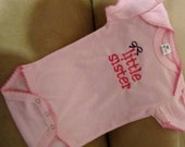 Little Sister Embroidered Onesie- PINK