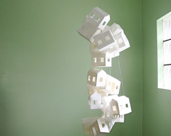 Large Paper House Mobile in White