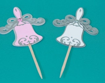 Wedding Bells cupcake toppers 24pk