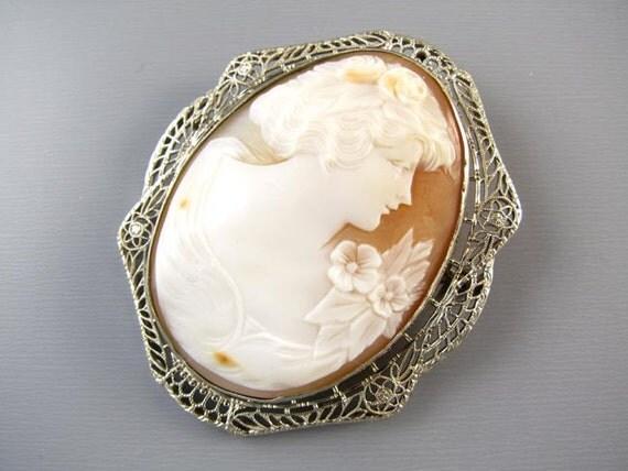Vintage Art Deco 14K white gold filgree cameo brooch pin pendant necklace